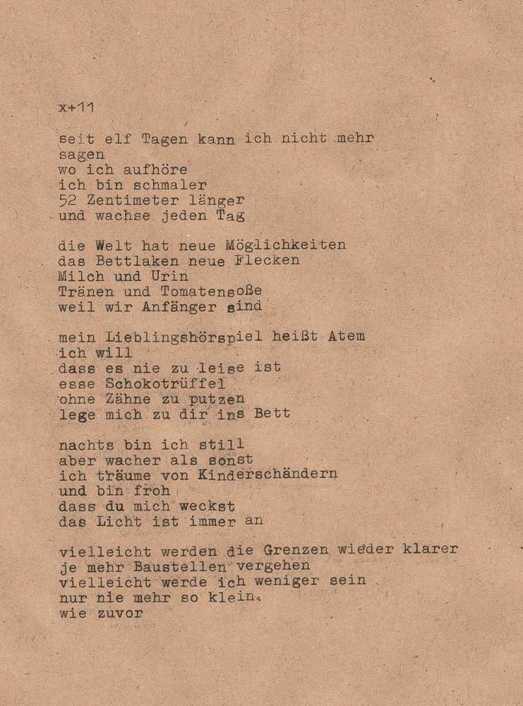Gedicht über Wochenbett